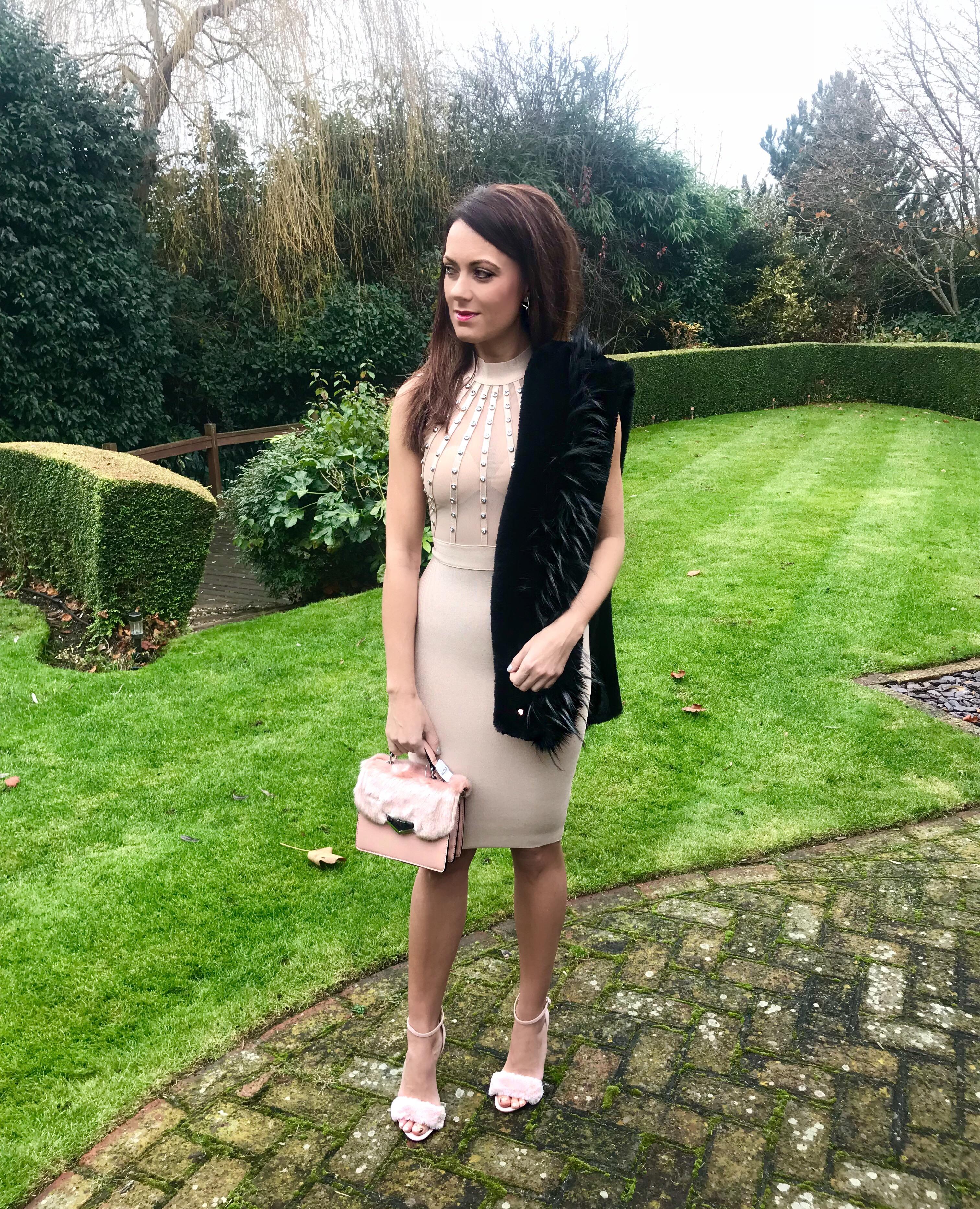 Stephanie Pratt - Sleeveless Studded Bodycon Dress – Champagne | Striped faux fur scarf | Office Faux Fur Trim Sandals | Aldo Faux Fur Top Handle Bag