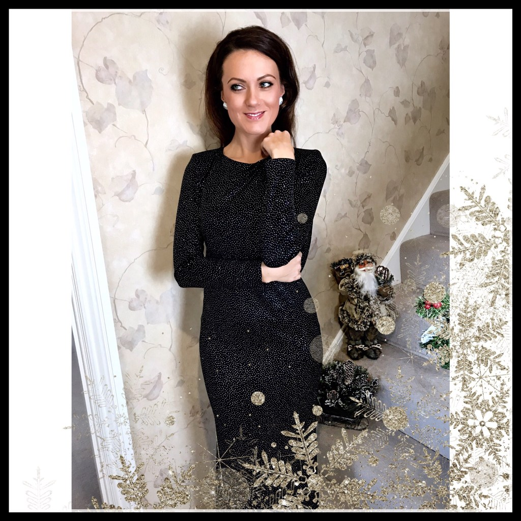 NYE Fashion Jessica Wright Helen Sparkle Cowl Back Maxi Dress | Next Sparkle Bag | Office Crystal Back Sandals