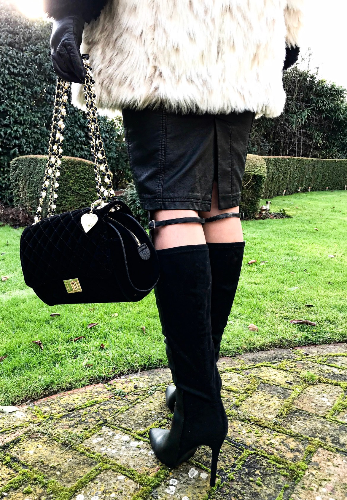 Marc B Quilted Velvet Cross Body | Lost Ink Panelled Knee High Boots | Lipsy Military Button Jumper | Lipsy Faux Fur Belted Coat | Swarovski earrings