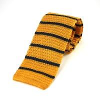 Medium Striped Gold & Navy Silk Knitted Tie - Elegant Extras