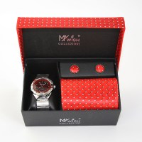 Watch Tie Cufflinks Boxed Gift Set - Red Tie - Elegant Extras