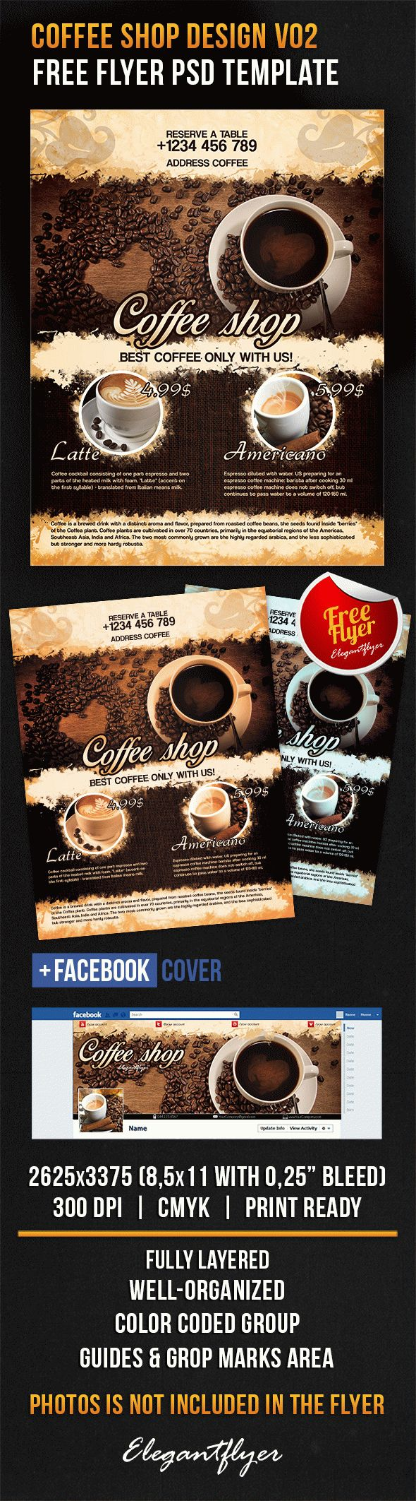 Coffee Shop Design V02 – Free Flyer PSD Template – By