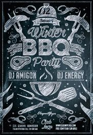 Winter BBQ Party – Flyer PSD Template – By ElegantFlyer