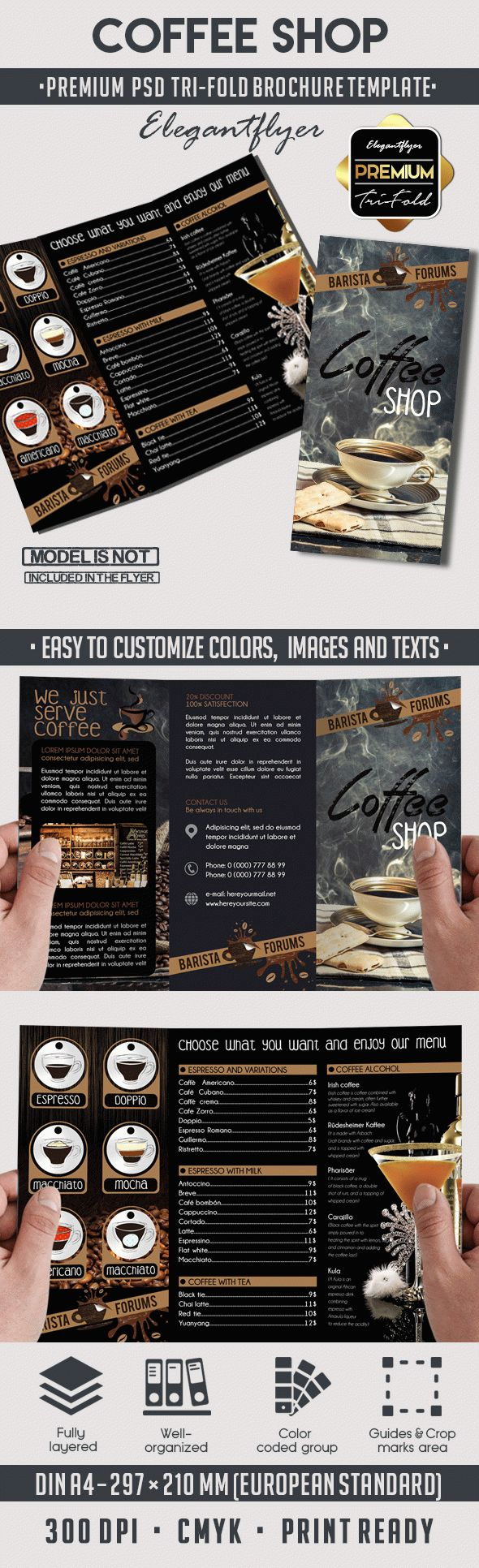 Coffee Shop – Tri Fold PSD Brochure Template – By ElegantFlyer