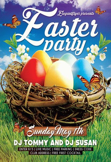 Easter Party V05 Free Flyer PSD Template Facebook