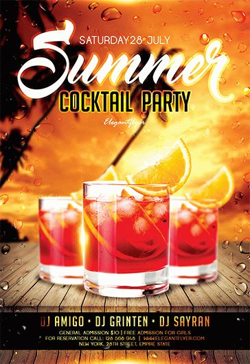 Summer Cocktail Party  Free Flyer PSD Template  by ElegantFlyer