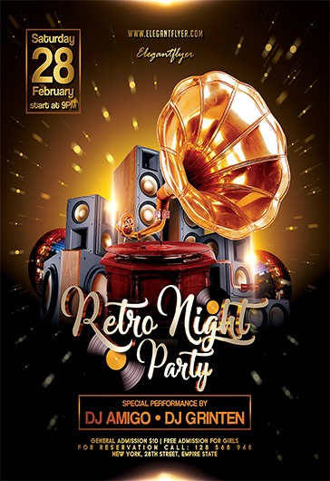 Retro Night Party Flyer PSD Template By ElegantFlyer