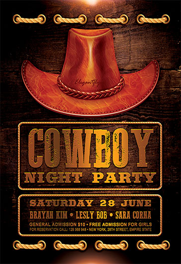 Cowboy Night Party – Flyer PSD Template – By ElegantFlyer
