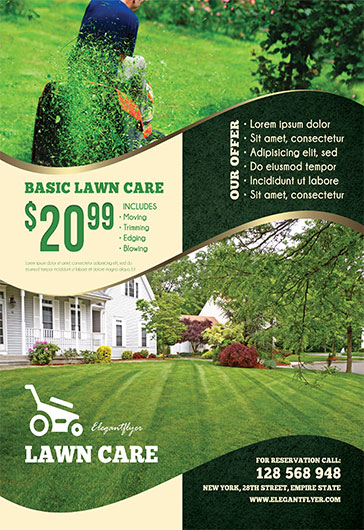 lawn care free flyer psd template