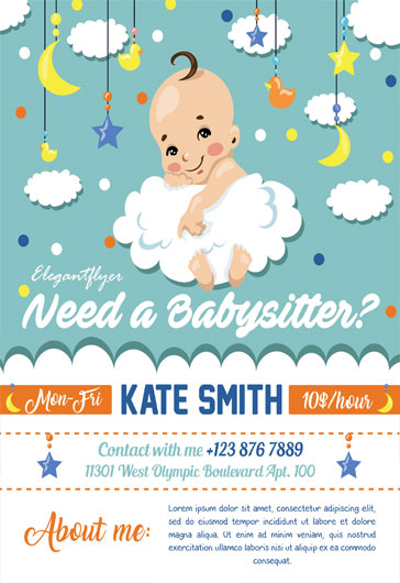 Babysitting Flyer Template Free – Free Flyer PSD Template