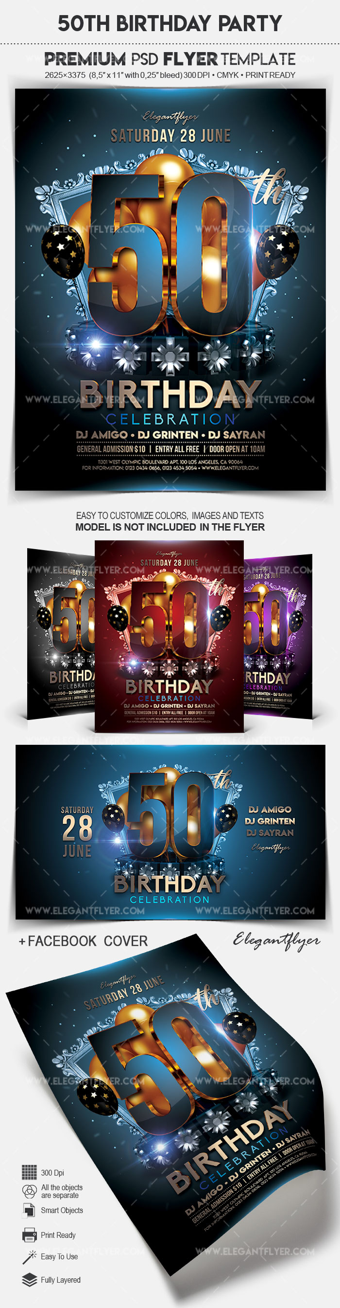 50Th Birthday Party – Flyer Psd Template
