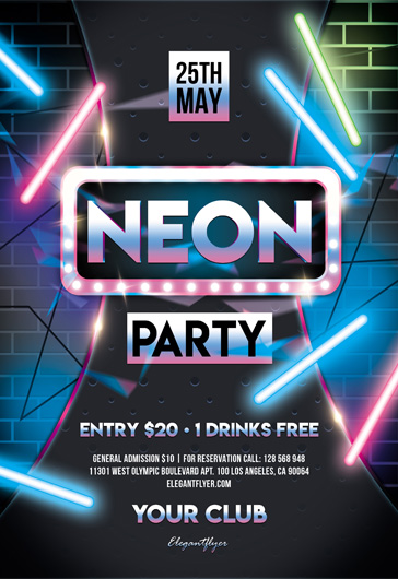 Neon Party – Free Flyer PSD Template – By ElegantFlyer
