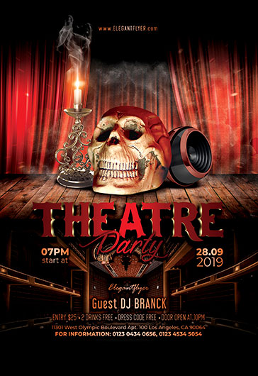 Theatre Party Free Flyer PSD Template By ElegantFlyer