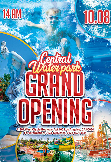 Water park Grand Opening  Flyer PSD Template  by