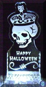 halloween skull with crown ice sculpture