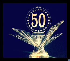 Starburst base with 50 Ice Sculpture for Birthdays and Anniversaries
