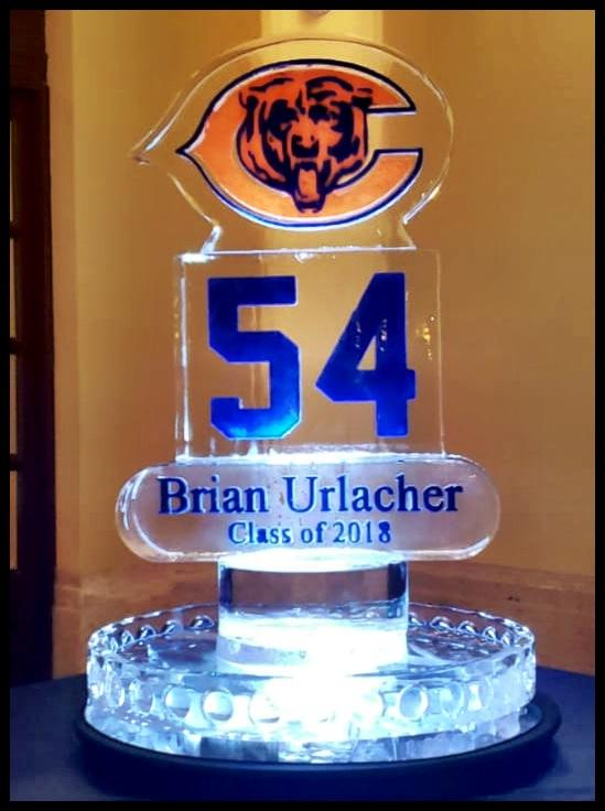 Brian Urlacher Football Hall of Fame Logo on Round Ice Table