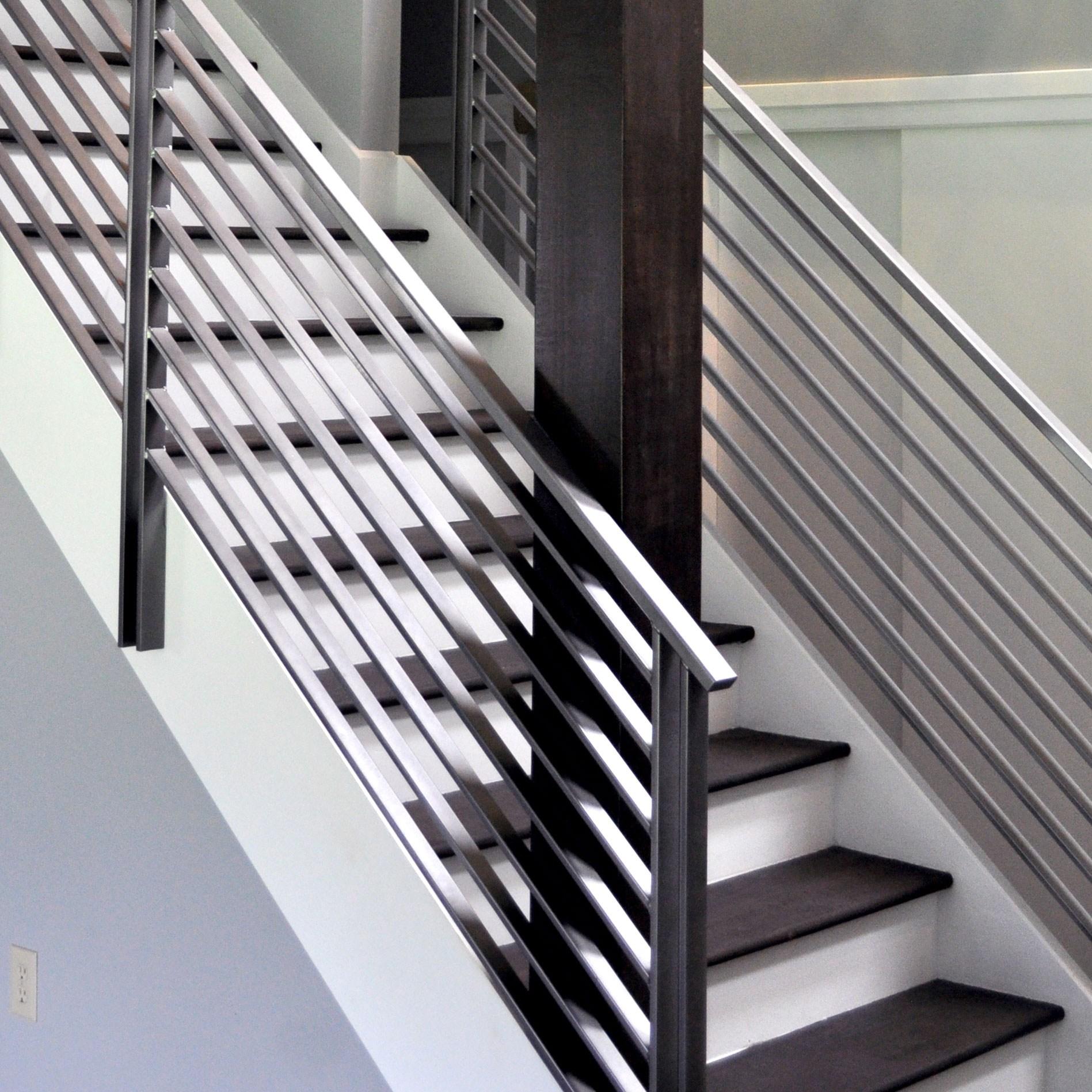 Elegant Iron Studios Custom Ornamental Metalwork Modern | Black Metal Stair Railing | Minimalist Simple Stair | Craftsman Style | Brushed Nickel | Rustic | Horizontal
