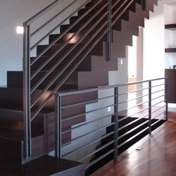 Elegant Iron Studios Custom Ornamental Metalwork Modern   Metal Horizontal Stair Railing   Art Deco   Modern Style   Brushed Nickel   Split Level Foyer   Deck