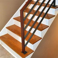 Elegant Iron Studios Custom Ornamental Metalwork Modern   Horizontal Wood Stair Railing   Wrought Iron   Cherry Wood   Steampunk   Rustic   Wooden