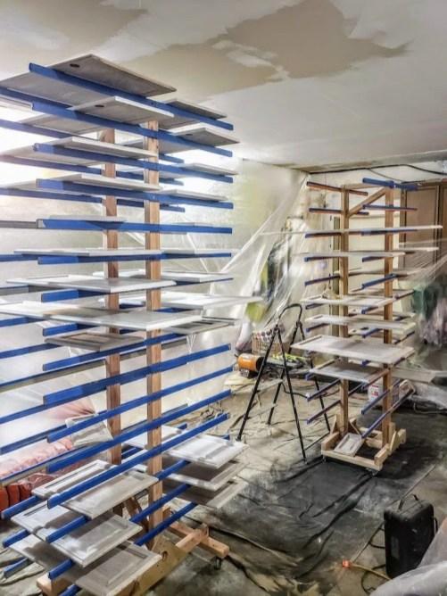 cabinet door drying rack paint