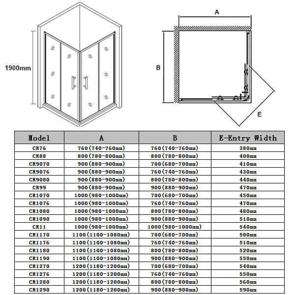 Quadrant/Square/Diamond Framed Frameless Shower Screen