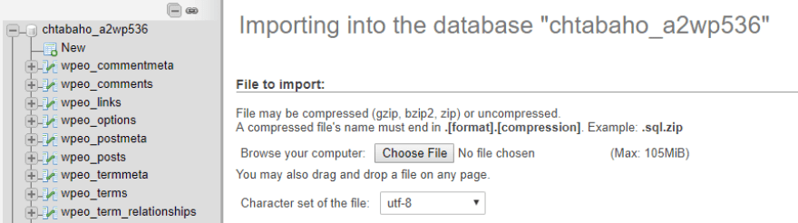 Importing a database.