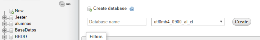 Creating a new database.