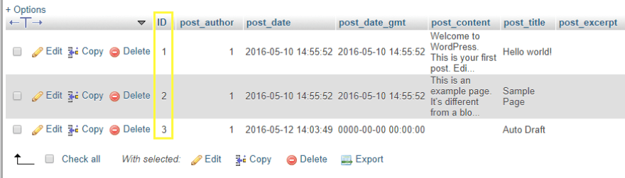 Your posts ordered by their ID numbers.