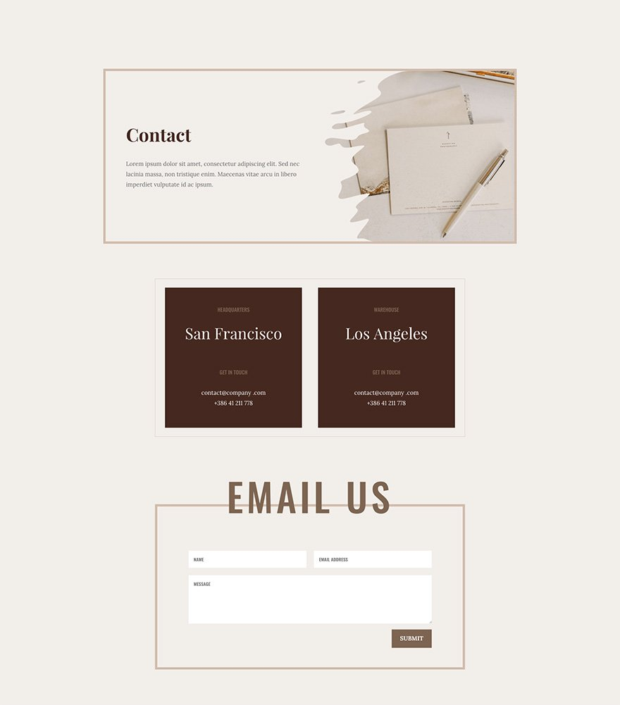 Online Store Layout Pack Contact Page Design