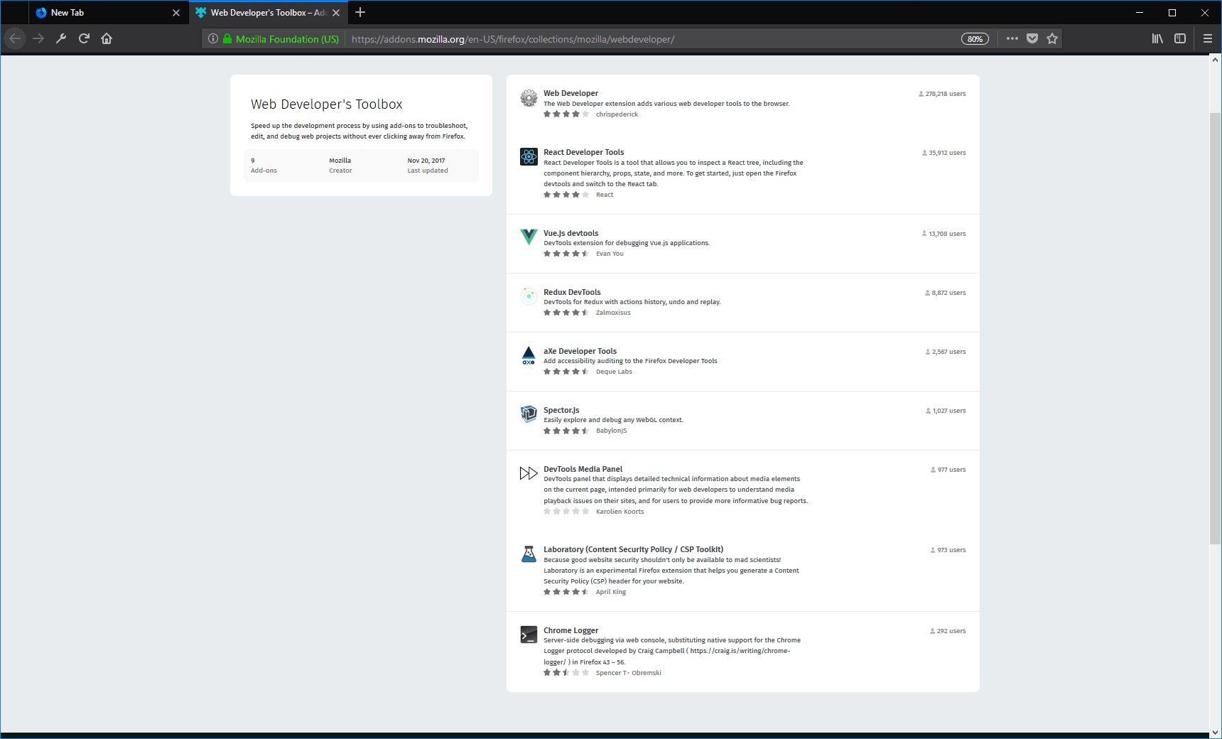 firefox developer edition addons