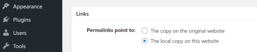 Configuring the plugin to link to the local copies of syndicated content.