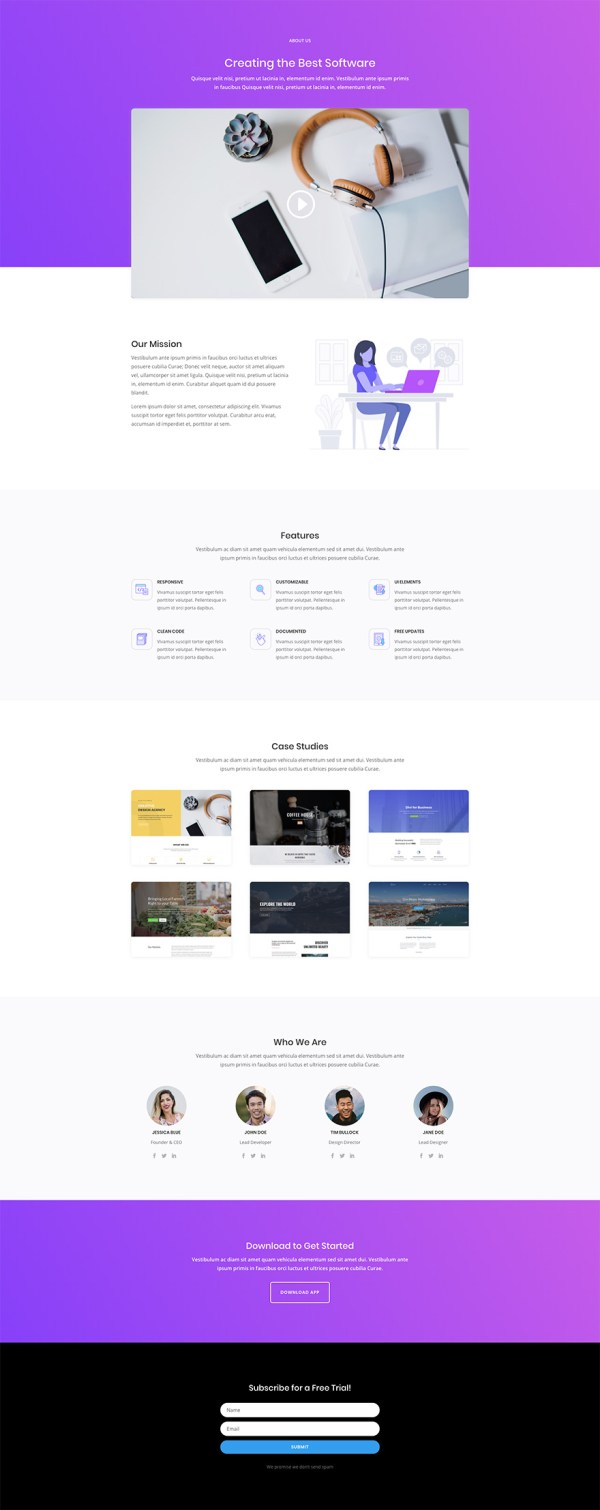 Free & Magnificent Software Marketing Layout