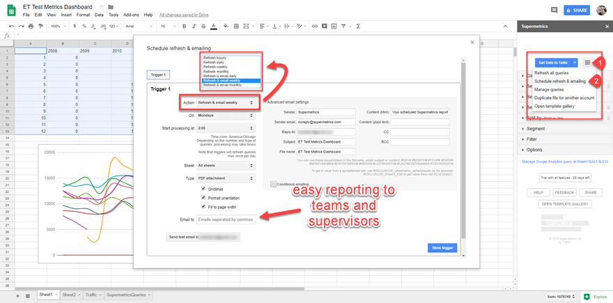 supermetrics scheduling and refresh data