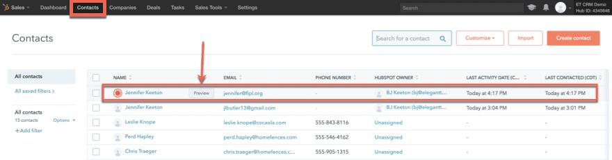 hubspot crm contacts tab