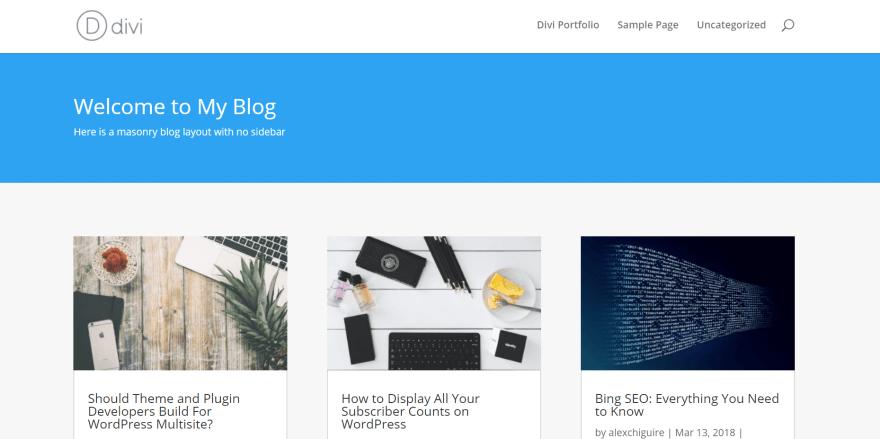 A Divi masonry blog example.