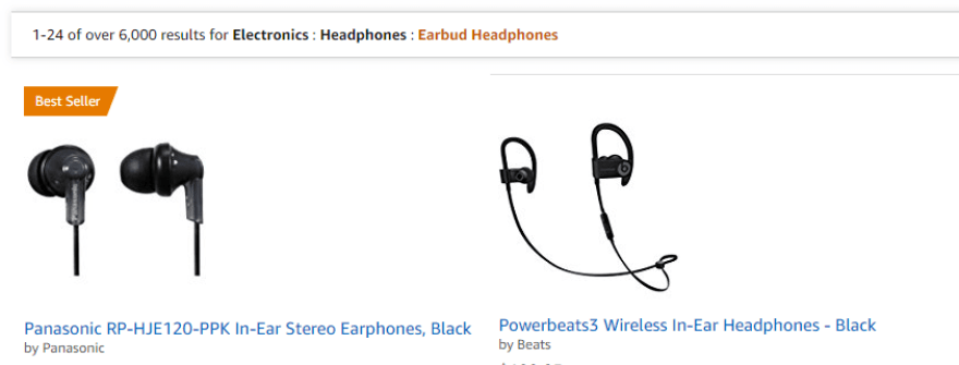 A screenshot of one of Amazon's product catalog pages.
