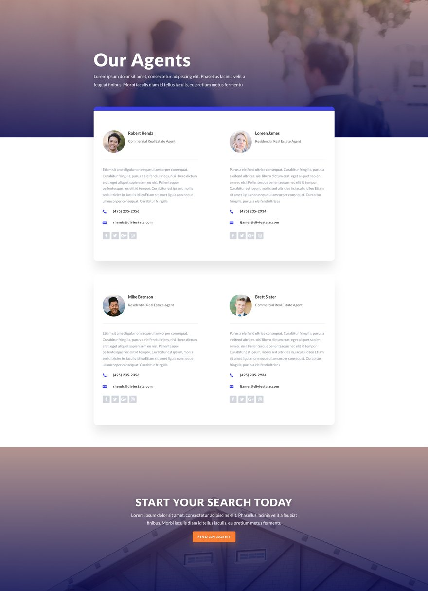 real estate team page