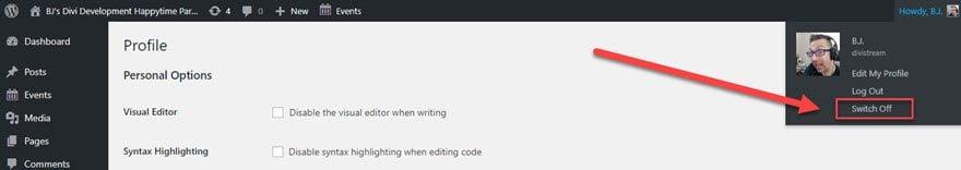 WordPress User Switching
