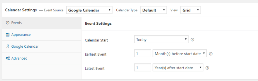 The plugin's events tab.