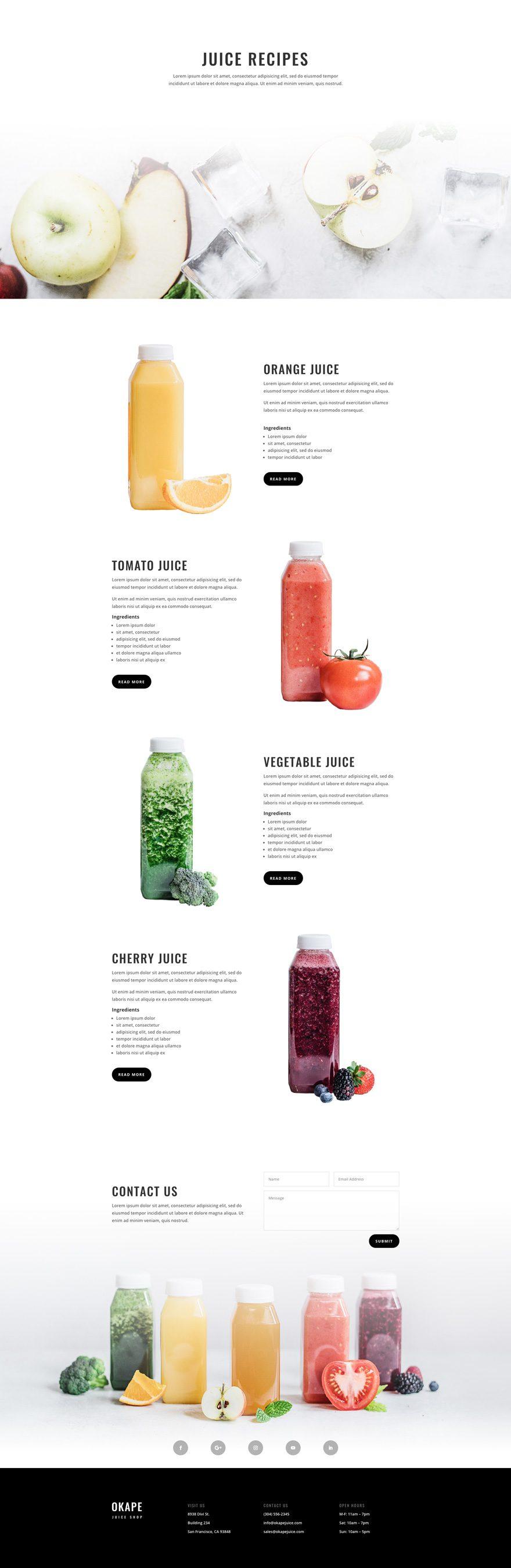 juice shop recipes