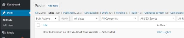 Your WordPress posts tab.