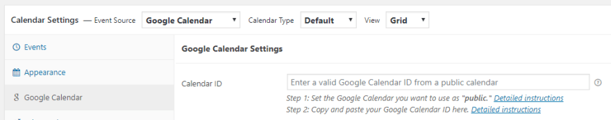 Pasting your calendar ID.
