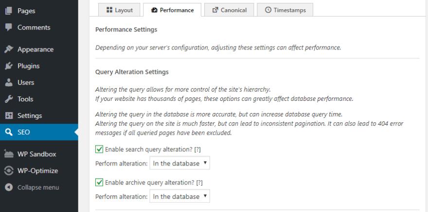 The SEO Framework's performance settings.