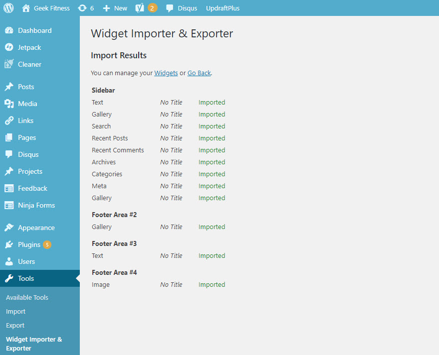 WordPress Widget Importer and Exporter
