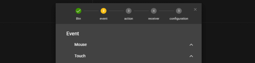 Choosing what type of event to use.