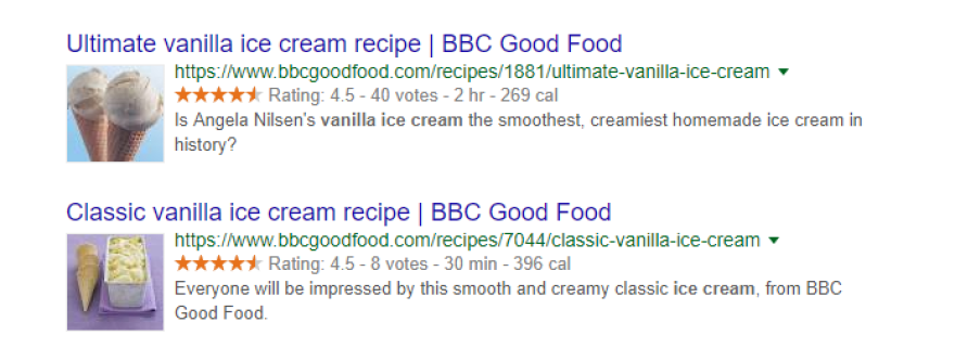 Two examples of rich snippets.