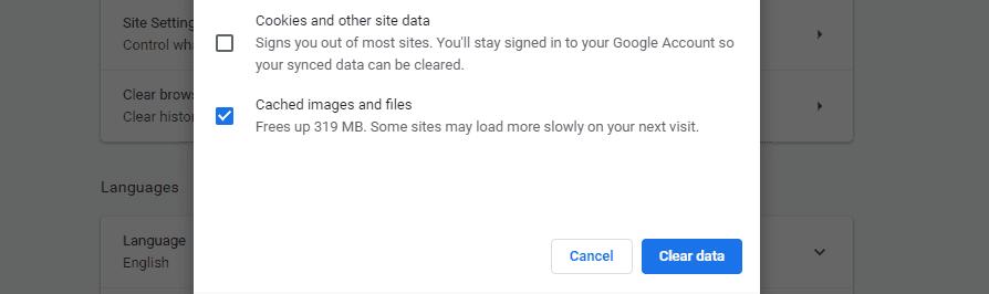Effacement des images et des fichiers mis en cache dans Chrome.