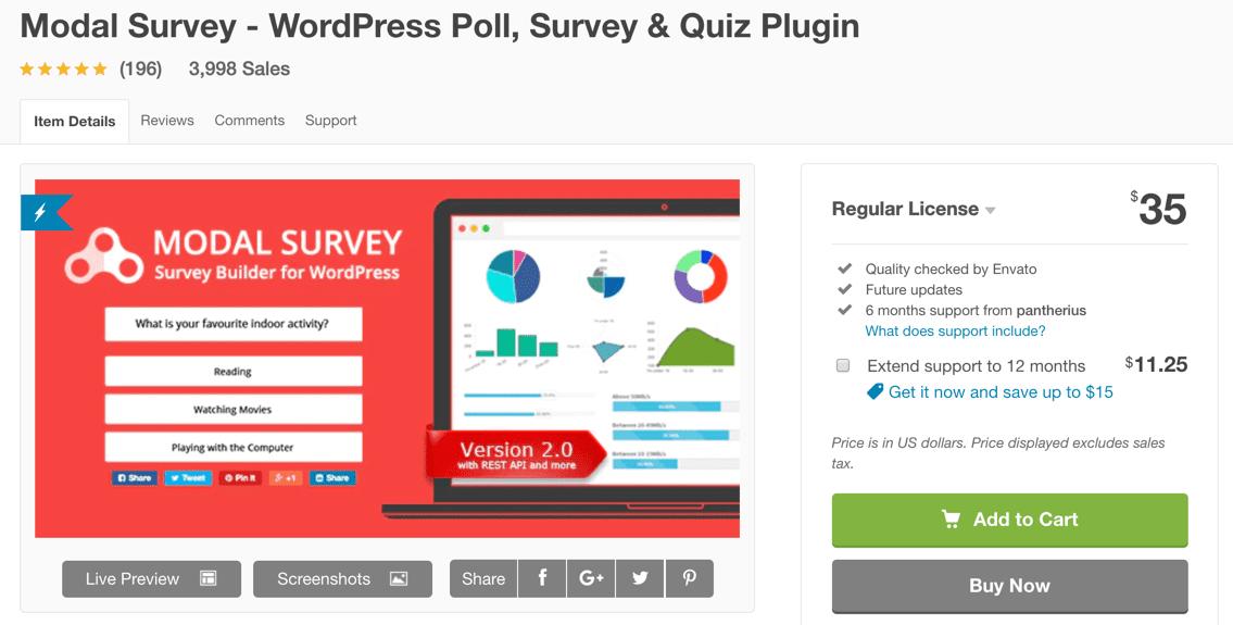 modal survey wordpress survey plugin