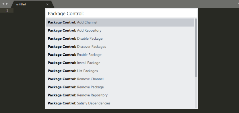 Sublime Text Package Control commands.
